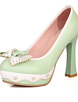 Women's Shoes Leatherette Chunky Heel Heels Heels Outdoor / Office & Career / Casual Black / Green / Pink