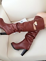 Women's Shoes Leatherette Stiletto Heel Combat Boots / Round Toe Boots / Office & Career / Casual Black / Brown / White