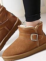 Women's Shoes Fur Flat Heel Snow Boots Boots Outdoor / Casual Black / Brown