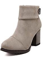 Zapatos de mujer - Tacón Robusto - Punta Redonda - Botas - Casual - Ante - Negro / Gris