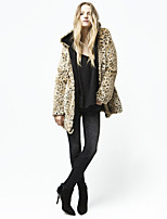 Women's Autumn Winter New  Hooded Fashion Leopard grain Imitation fur Thick Warm Sexy Plus Size Coat