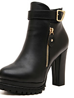 Women's Shoes Leatherette Chunky Heel Combat Boots Boots Casual Black