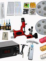 Red Dragonfly Tattoo Machine Kits Power Supply/ Rotary Gun/ 20 Needles/ 8 Tips/ 7 Inks Professional Supply