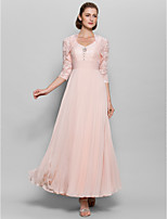 A-line Mother of the Bride Dress - Pearl Pink Ankle-length 3/4 Length Sleeve Chiffon / Lace