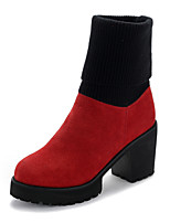 Women's Shoes Leather Chunky Heel Round Toe Boots Casual Black / Red