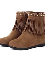 Chaussures Femme - Habillé / Décontracté / Soirée & Evénement - Noir / Marron / Rouge - Talon Compensé - Bottes à la Mode - Bottes -Laine