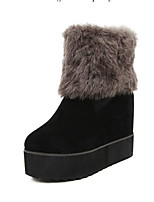 Women's Shoes Suede Platform Round Toe Boots Casual Black