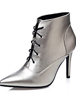 Women's Shoes Stiletto Heel Heels / Bootie / Pointed Toe / Closed Toe Boots Dress Black / Silver