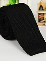 Men Black Polyester Silk Tie Leisure Knitted Narrow Necktie