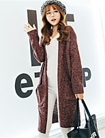 Women's Solid Red / Gray Cardigan , Casual Long Sleeve
