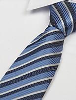 Stripe Gray Blue Striped Men Polyester Yarn Tie Necktie