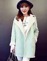 Women's Solid Green / Gray Coat , Casual / Cute Long Sleeve Wool Blends / Fleece