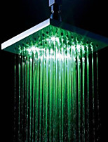 8 Inch  Chrome Temperature Control Heat Sensor LED  Shower Head Rain Shower
