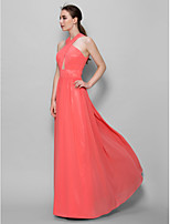 Yer-uzunluğu Şifon A-line V-Yaka Nedime Elbisesi Karpuz