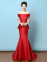 Formal Evening Dress - Ruby Trumpet/Mermaid Off-the-shoulder Sweep/Brush Train Satin