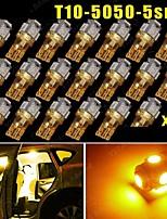 20x super luminoso giallo ambra T10 / 194/168/2825 5 luci led lampadine 5050 SMD