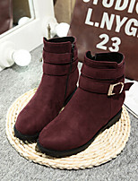 Women's Shoes Fleece Wedge Heel Round Toe Boots Casual Black / Red / Beige