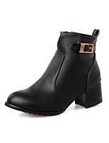 Chaussures Femme - Habillé / Décontracté / Soirée & Evénement - Noir / Rouge - Gros Talon - Bottes à la Mode - Bottes - Similicuir