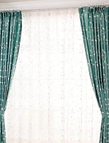 (dois painéis) moderno da flor da videira algodão bordado cortina de poupança de energia