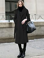 Damen Mantel  -  Leger / Party / Arbeit / Übergröße Langarm Wolle / Baumwolle / Elasthan / Polyester / Acryl
