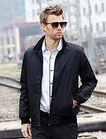Men's Long Sleeve Jacket , Polyester Casual Pure