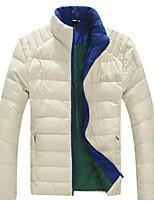 Men's Long Down Coat , Cotton Blend / Polyester Pure Long Sleeve Plus Size