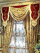(Two Panel)Traditional Printed Jacquard  Floral Cotton Linen Blend Eco-friendly Curtain(Valance and Sheer Not Included)