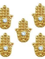10pcs Hand Charms with Blue Rhinestone Evil Eye Hamsa Egypt Theme 3D Gold Nail Art Alloy 7mm x 9mm