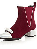 Women's Shoes Leather Chunky Heel Fashion Boots / Round Toe Boots Dress / Casual Black / Burgundy