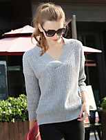 Women's Solid Gray Pullover , Casual V Neck Long Sleeve