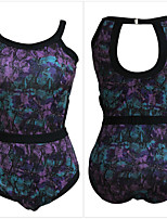 Women's Halter One-pieces , Floral Wireless Nylon / Spandex Purple / Yellow
