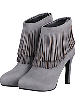 Women's Shoes Leather Stiletto Heel Fashion Boots / Round Toe Boots Dress / Casual Black / Gray