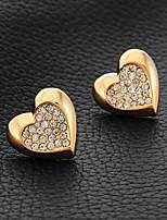 InStyle 18K Chunky Gold Plated Heats Stud Rhinestone Earrings High Quality