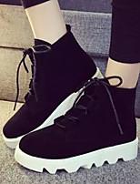 Calçados Femininos - Botas - Arrendondado / Bico Fechado - Plataforma - Preto / Marrom - Tecido - Casual