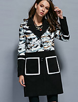 Women's Print / Patchwork Black Coat , Casual Long Sleeve Polyester / Wool Blends