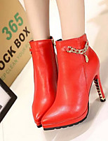Women's Shoes Sesy Fashion Hin Thin Stiletto Heel Comfort / Pointed Toe Boots Dress / Casual Black / Red