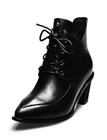 Women's Shoes Leather Chunky Heel Fashion Boots / Combat Boots / Pointed Toe Boots Office & Career / Casual