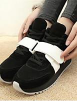 Scarpe Donna - Sneakers alla moda - Casual - Punta arrotondata - Zeppa - Finto camoscio - Nero / Rosso
