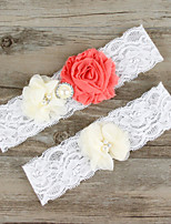 2pcs/set Orange And Milk White Satin Lace Chiffon Beading Wedding Garter