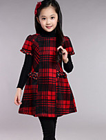 Girl's Red / Yellow Dress , Check Wool Blend Winter / Spring / Fall