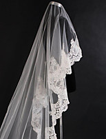 Bride Wedding Veil One-tier Cathedral Veils Lace Applique Edge