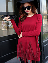 Women's Solid Red / Black / Yellow / Gray Loose Large Size Tassels Pullover , Casual Long Sleeve