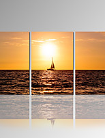 VISUAL STAR®Boat On Sea Canvas Printing Sunset Landscape Canvas Wall Art Ready to Hang
