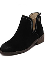 Women's Shoes Suede Chunky Heel Round Toe Boots Casual Black / Khaki