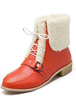 Women's Shoes Fleece Chunky Heel Fashion Boots / Round Toe Boots Dress / Casual Black / Yellow / Beige / Orange