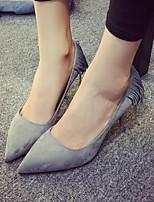 Women's Shoes Fleece Stiletto Heel Pointed Toe Heels Casual Black / Gray