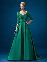 Formal Evening Dress - Dark Green A-line Scoop Chapel Train Lace / Satin
