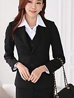Women's Solid Blue / Black Blazer , Work / Plus Sizes Notch Lapel Long Sleeve