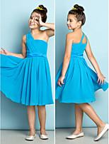 Knie-Lengte Doek Junior bruidsmeisjesjurk - Oceaanblauw A-Lijn Een schouder