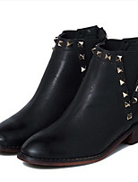 Women's Shoes Leather Chunky Heel Round Toe Boots Casual Black / Brown